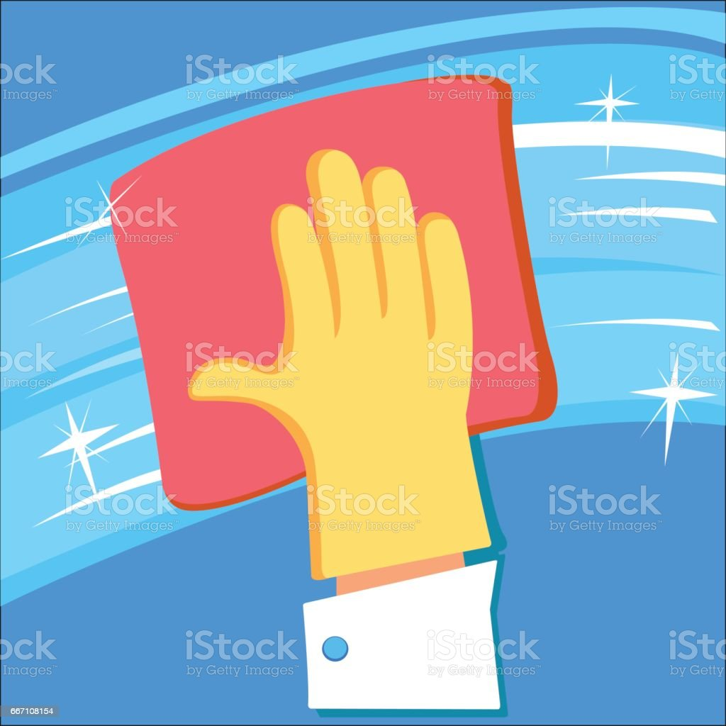 Hand in rubber glove cleaning window. vector art illustration