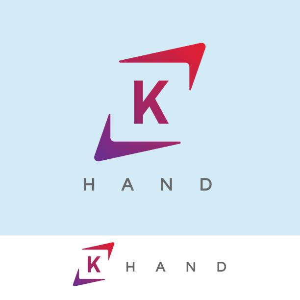 hand initial Letter K icon design icon template with hand element k logo illustrations stock illustrations
