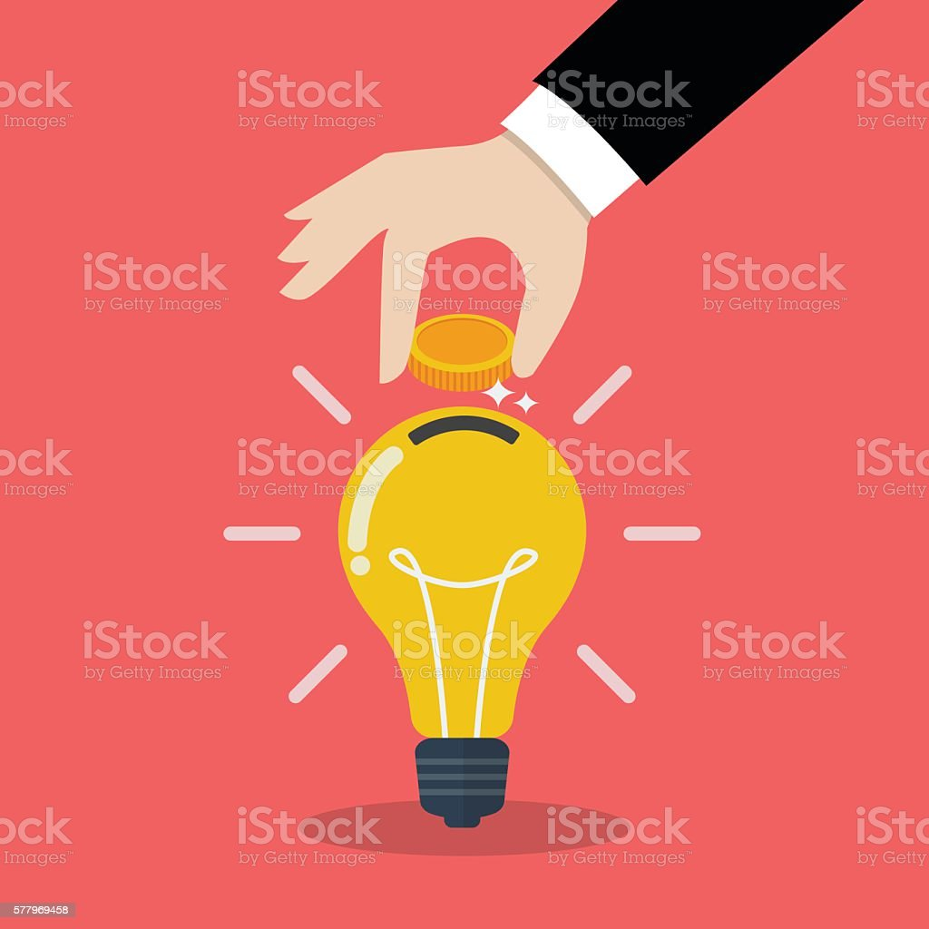 Hand inserting coin in light bulb – Vektorgrafik
