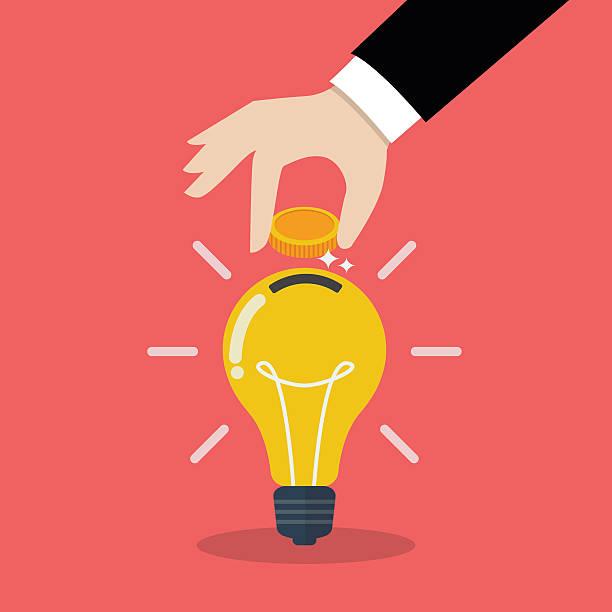 ilustrações, clipart, desenhos animados e ícones de hand inserting coin in light bulb - investimento