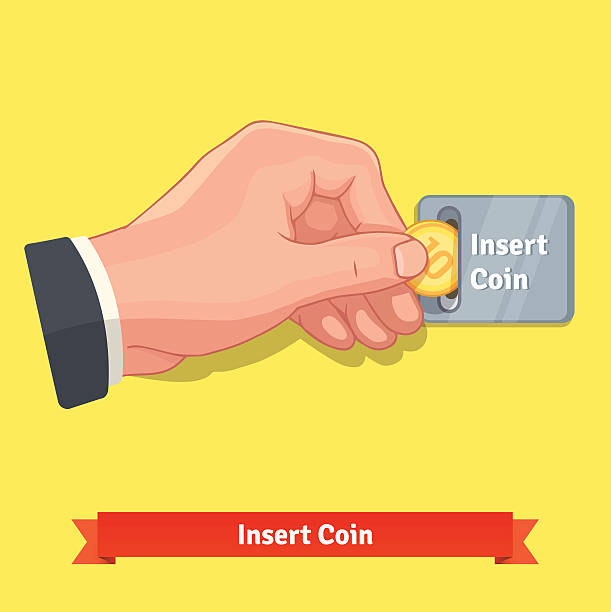 hand inserting coin to slot on a vending machine - sokmak stock illustrations