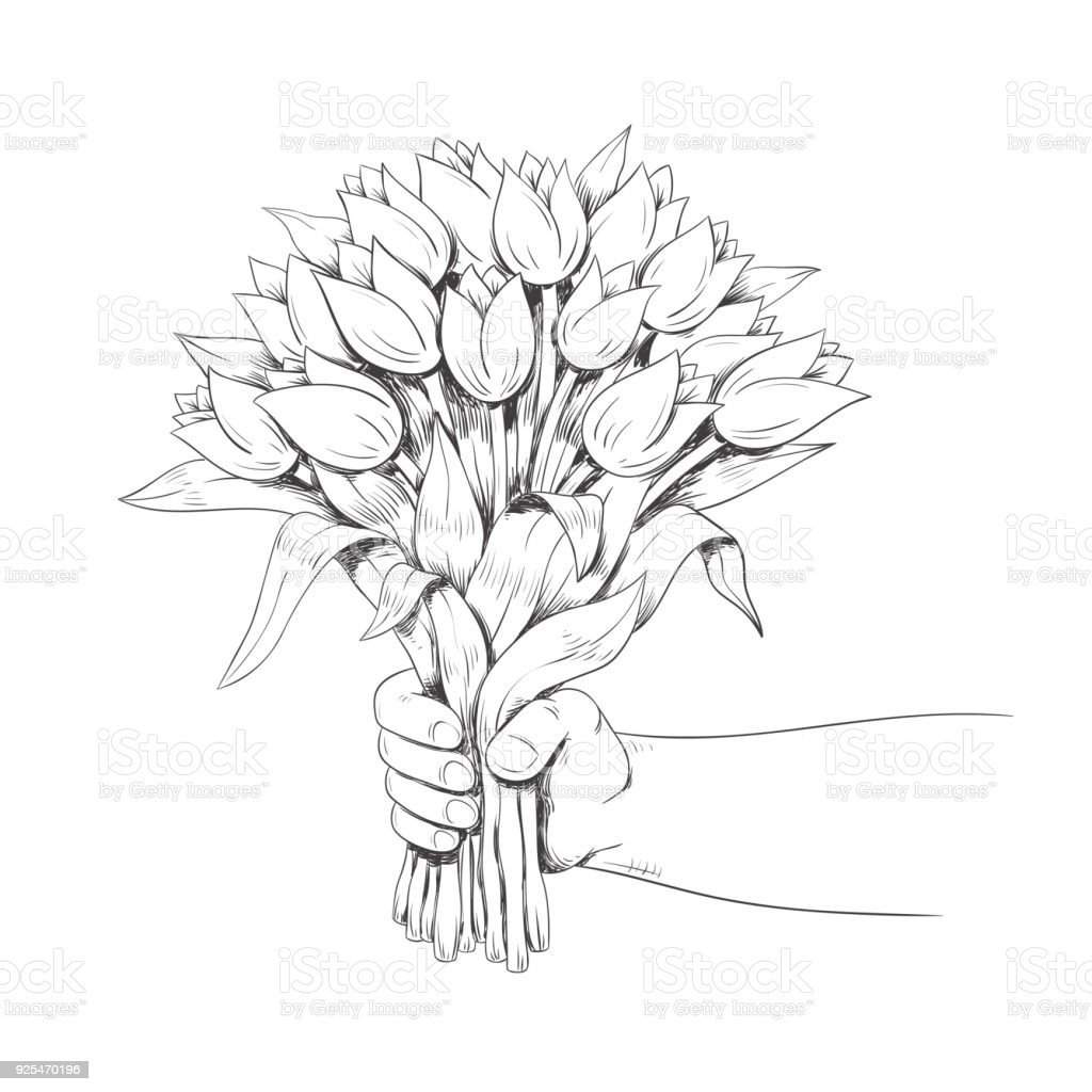 Hand is holding a bouquet of flowers line art vector illustration illustration