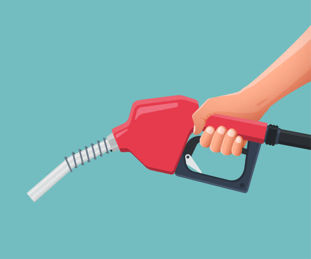 illustrazioni stock, clip art, cartoni animati e icone di tendenza di hand is holding fuel nozzle pump. vector illustration - benzina
