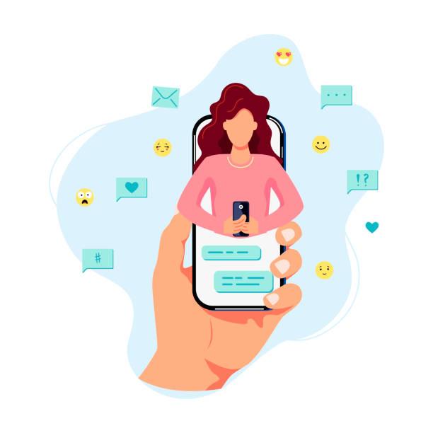 illustrazioni stock, clip art, cartoni animati e icone di tendenza di la mano tiene lo smartphone con una persona femminile sullo schermo. - video call