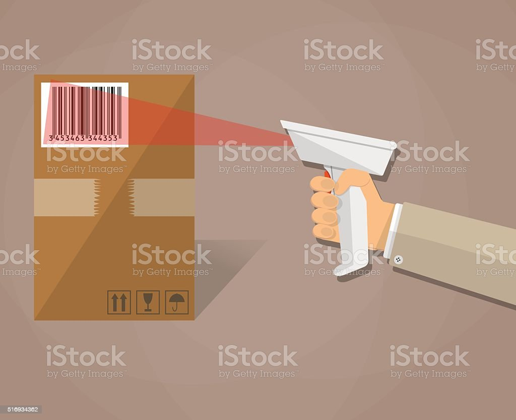 hand is scanning a box with barcode vector art illustration