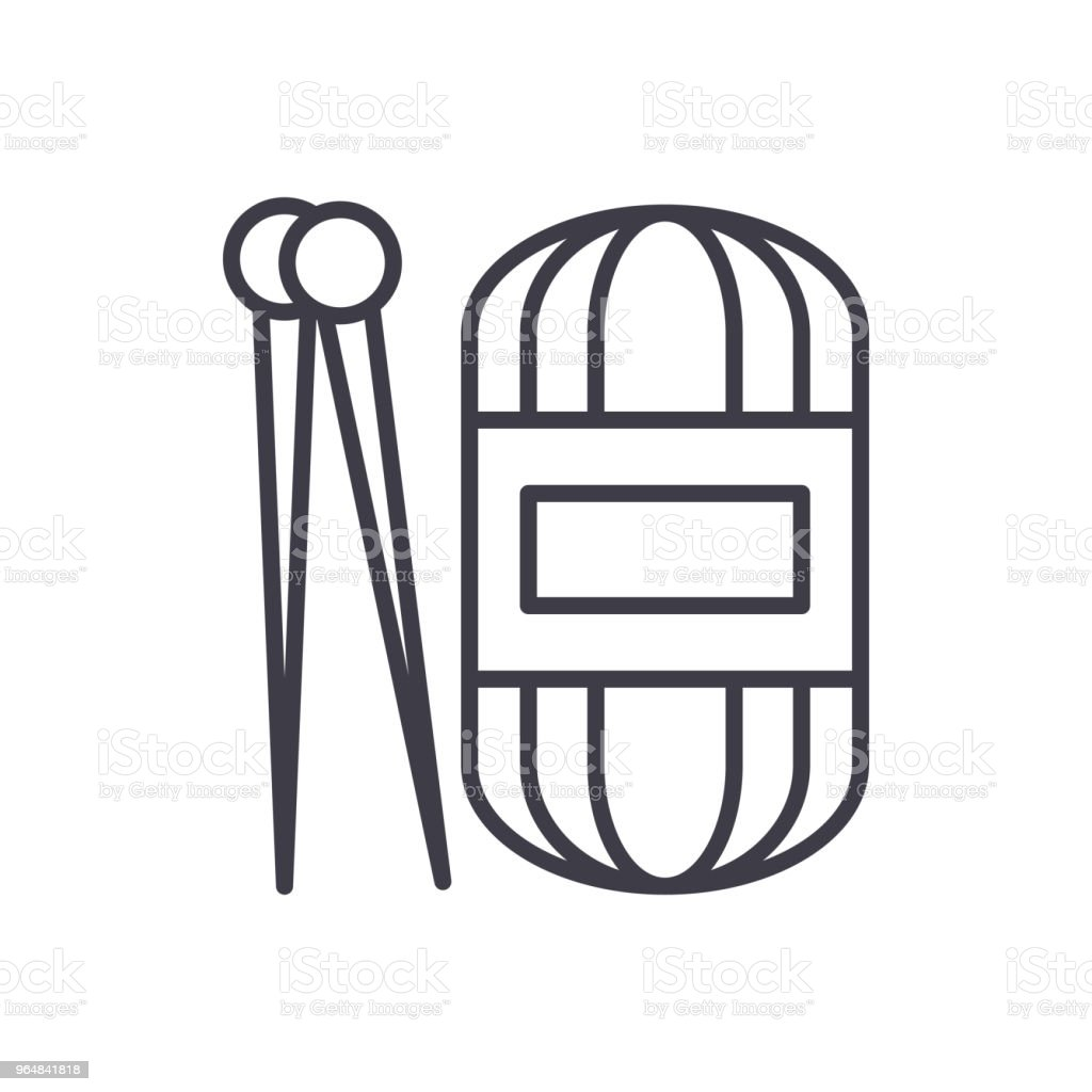 Hand knit black icon concept. Hand knit flat  vector symbol, sign, illustration. royalty-free hand knit black icon concept hand knit flat vector symbol sign illustration stock vector art & more images of ball