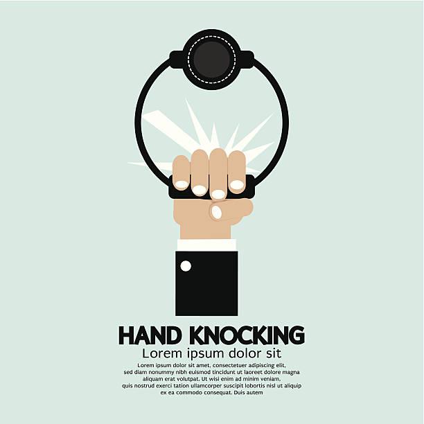 hand anklopfen - türklopfer stock-grafiken, -clipart, -cartoons und -symbole