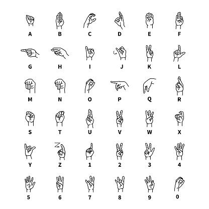 Hand language signs, latin alphabet outline black icons on white