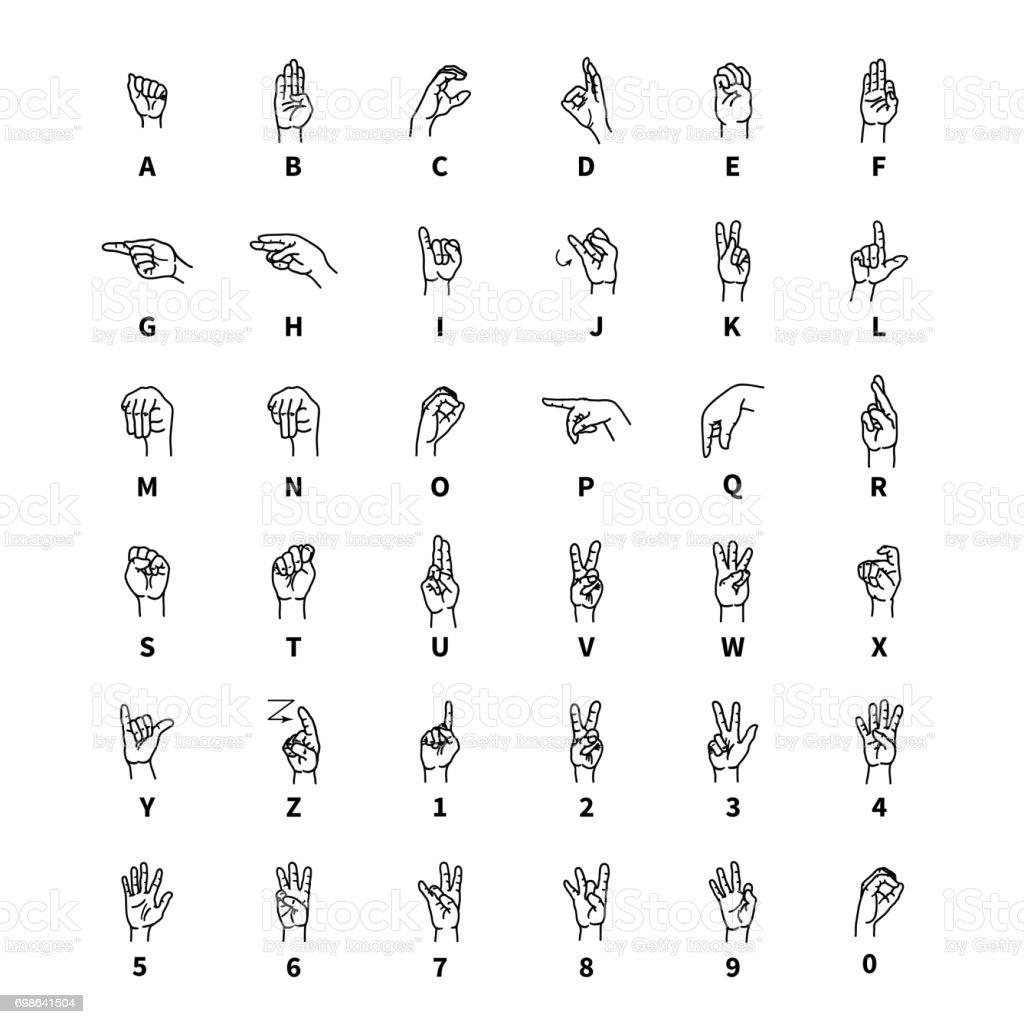 Hand language signs, latin alphabet outline black icons on white vector art illustration