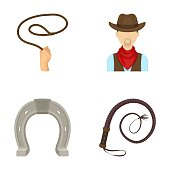 Hand lasso, cowboy, horseshoe, whip. Rodeo set collection icons in cartoon style vector symbol stock illustration .