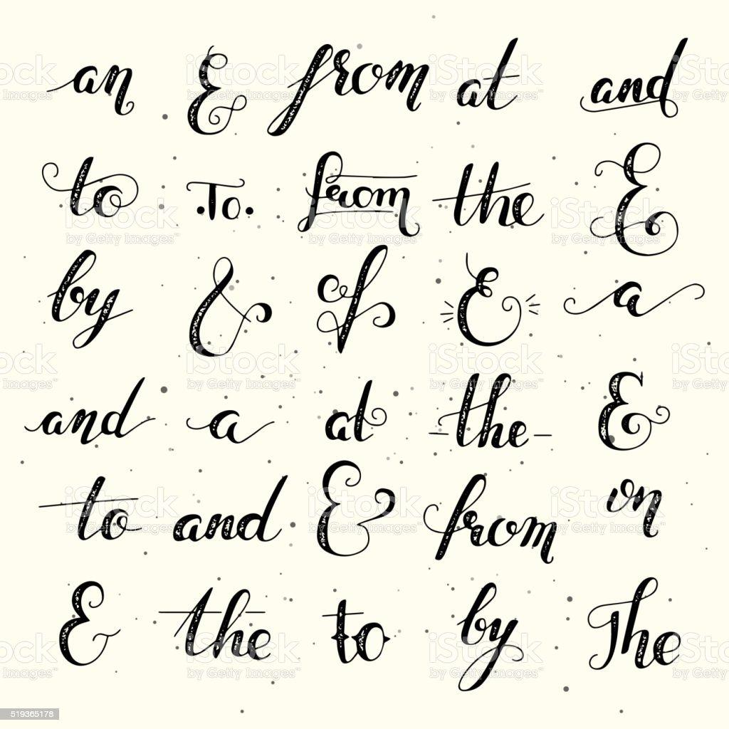 Hand lettered ampersand and catchword set vector art illustration