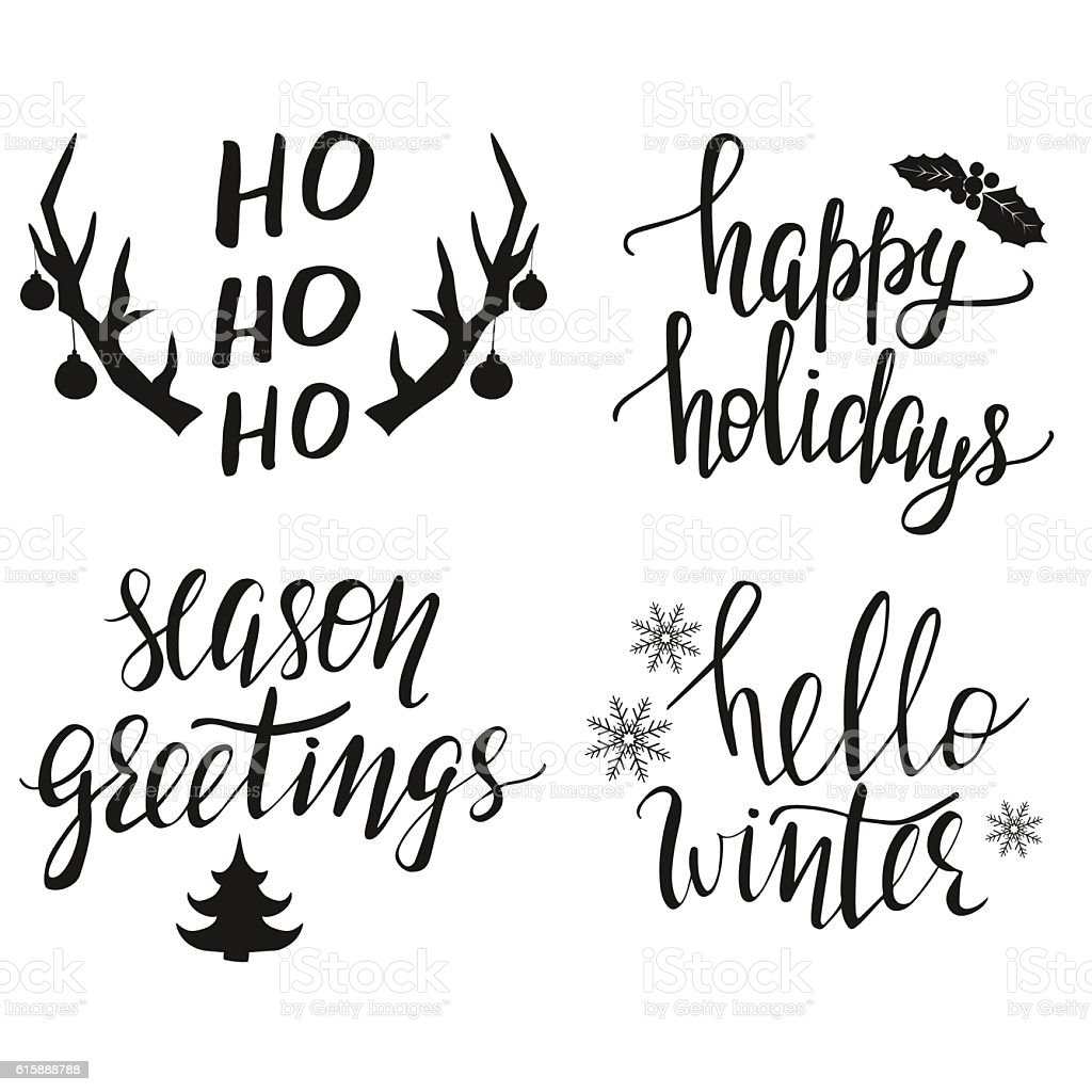 Hand Lettered Christmas Greeting Phrases Stock Vector Art More