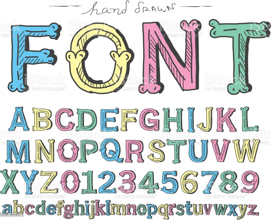 Vector illustration of a Hand lettered alphabet set includes capital...