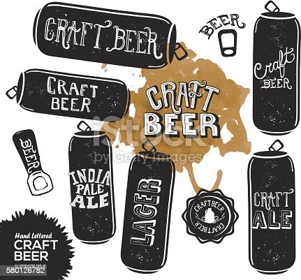 Vector illustration of a Hand lettered set of Hand lettered set of craft beer cans with watercolor texture.