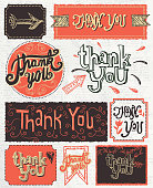 Vector illustration of Hand lettered set of thank you labels in red and gray colors. Red and gray. Features unique printable, scalable, editable handrawn design elements on light gray background.  Area to customize your message. Easy to edit. Download includes Illustrator 10 eps, high resolution jpg. See my portfolio for similar concepts.