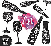 Hand lettered set of wine glasses and bottles
