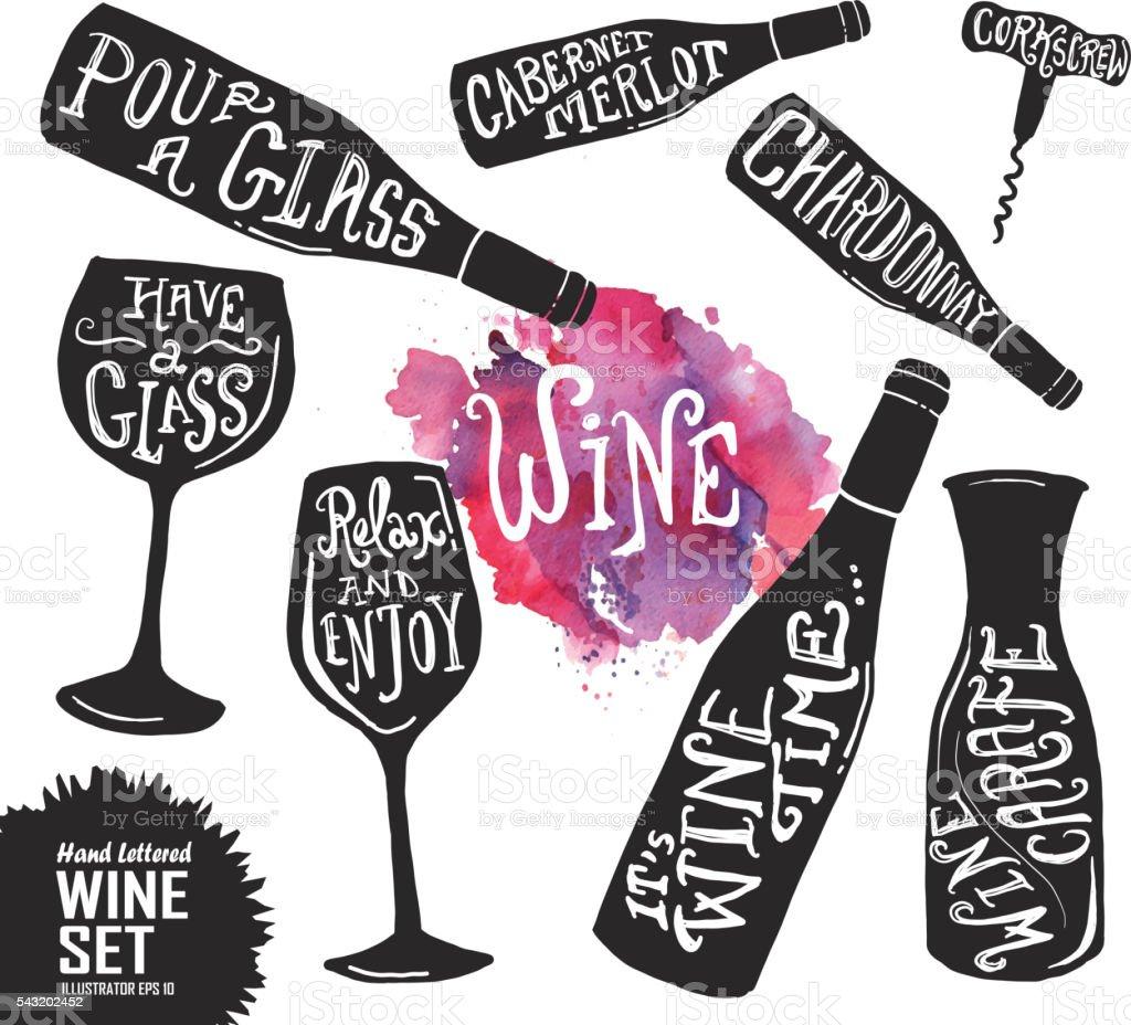 Hand lettered set of wine glasses and bottles vector art illustration