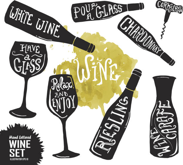 bildbanksillustrationer, clip art samt tecknat material och ikoner med hand lettered set of wine glasses and bottles - vitt vin glas