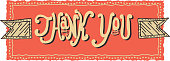 Vector illustration of Hand lettered thank you greeting design element. Features unique printable, scalable, editable handrawn design elements on an orange background.  Area to customize your message. Easy to edit. Download includes Illustrator 10 eps, high resolution jpg. See my portfolio for similar concepts.