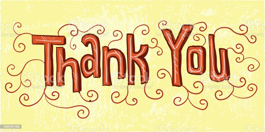 Hand lettered  thank you greeting design red and yellow vector art illustration