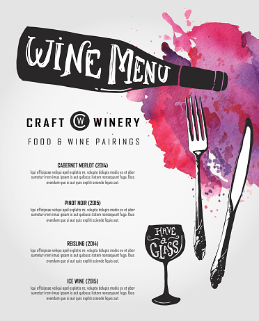 Hand lettered Wine menu design template