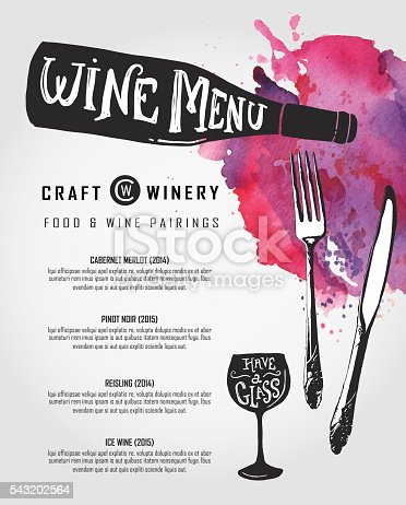 Vector illustration of a Hand lettered Wine menu design template.