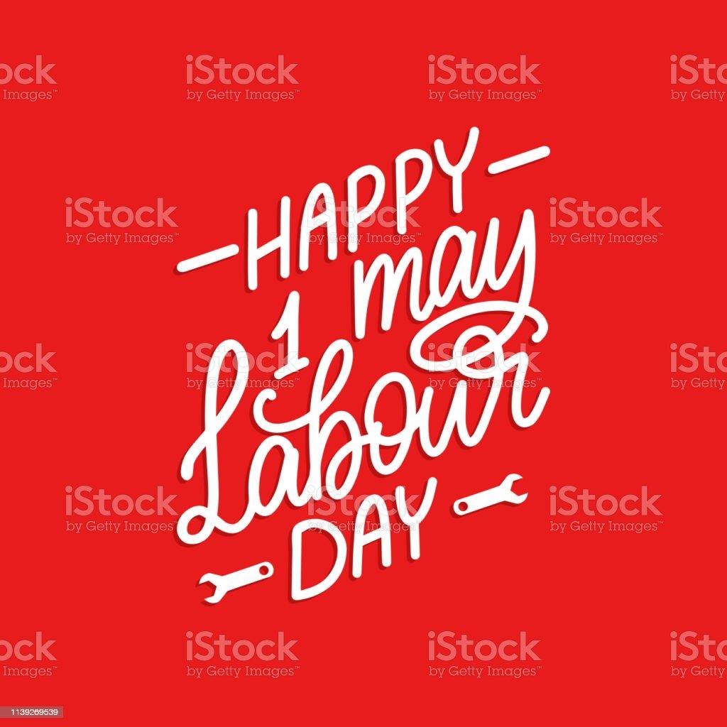 Letras de la mano 1 de mayo. Día del trabajo feliz de caligrafía. Ilustración vectorial del día internacional de los trabajadores. - ilustración de arte vectorial