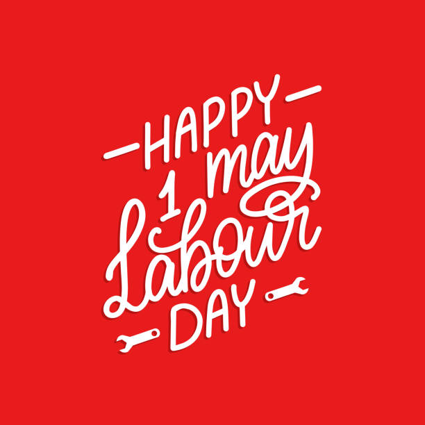 hand lettering 1st may. calligraphy happy labour day. vector illustration of international workers day. - may day stock illustrations, clip art, cartoons, & icons