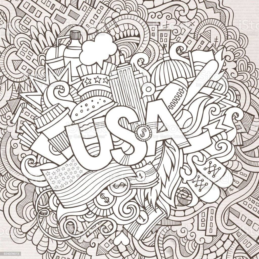 USA hand lettering and doodles elements background