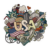 USA hand lettering and doodles elements background.