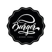Hand lettering burger food logo design concept on dark background. Web infographic fast-food restaurant menu pictogram.
