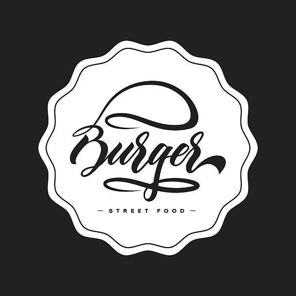hand lettering burger food logo - salatbar stock-grafiken, -clipart, -cartoons und -symbole