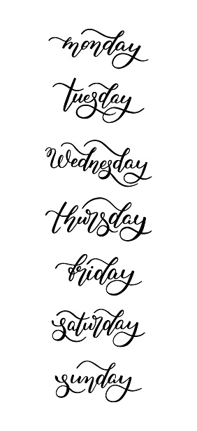 Hand lettering days of the week. Template for card, poster, print. Isolated on white background.