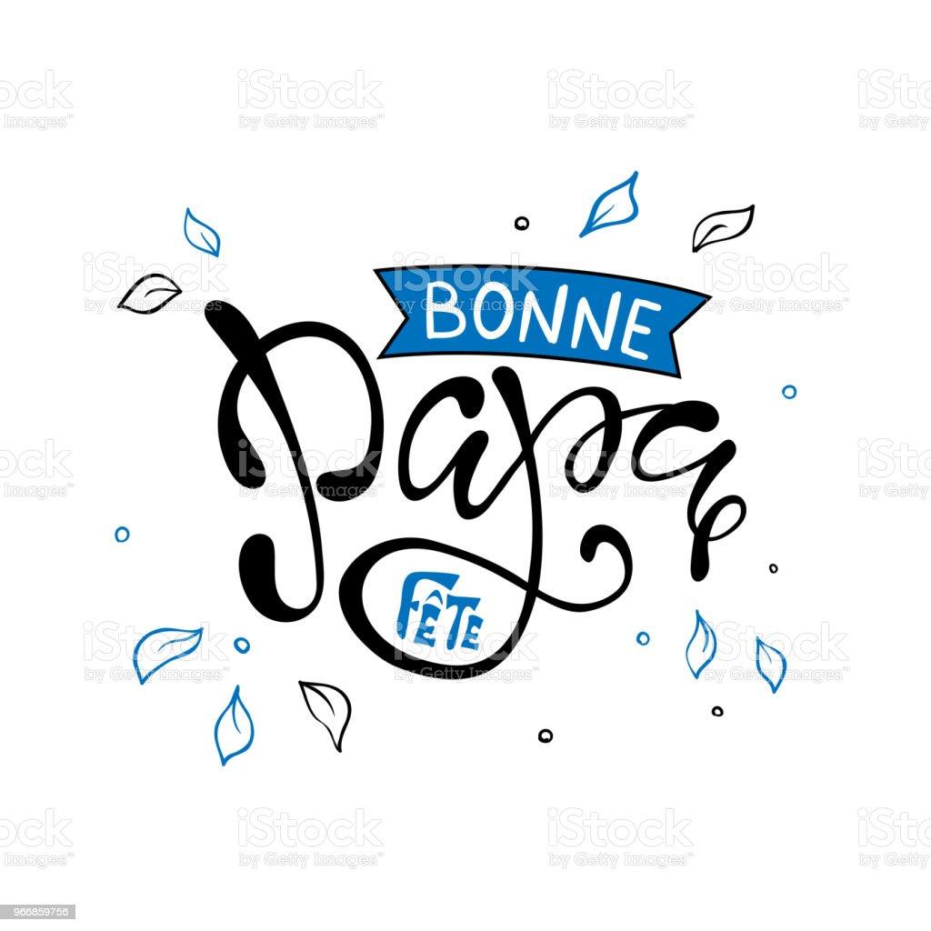schriftzug vatertag mit herz in franzosischer hand bonne fete papa stock vektor art und mehr bilder von abstrakt istock