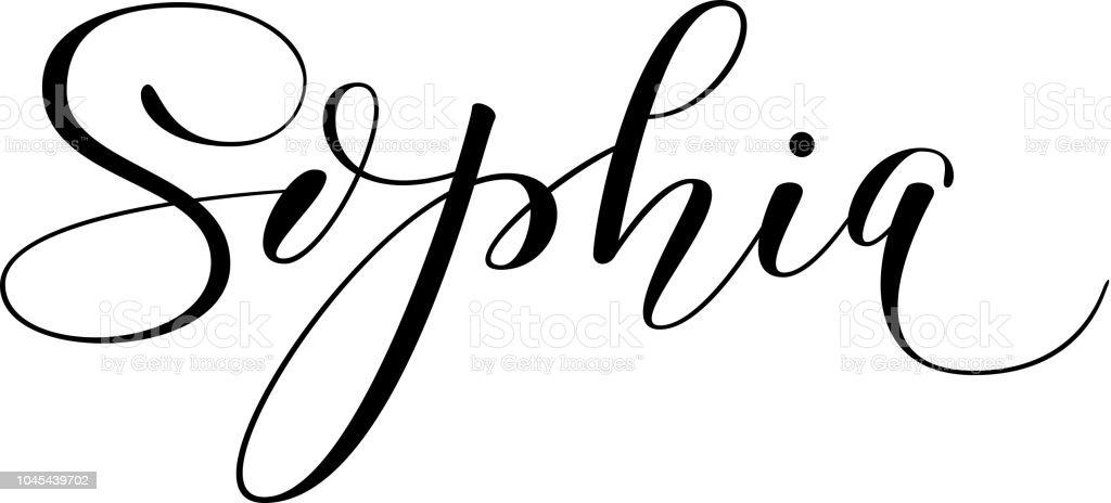 Hand Lettering Girls Name Sophia Stock Vector Art More Images Of