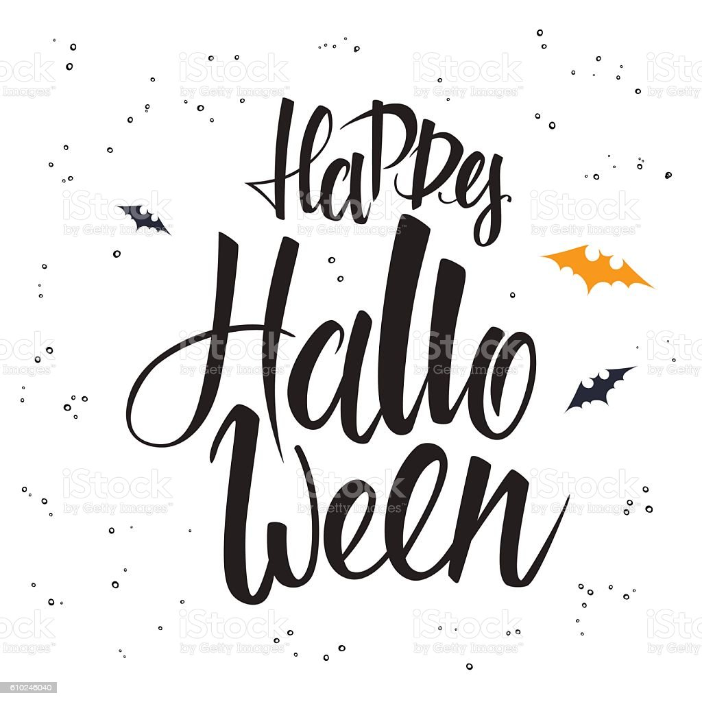 Hand lettering halloween greetings text happy halloween with bat hand lettering halloween greetings text happy halloween with bat royalty free hand lettering halloween m4hsunfo