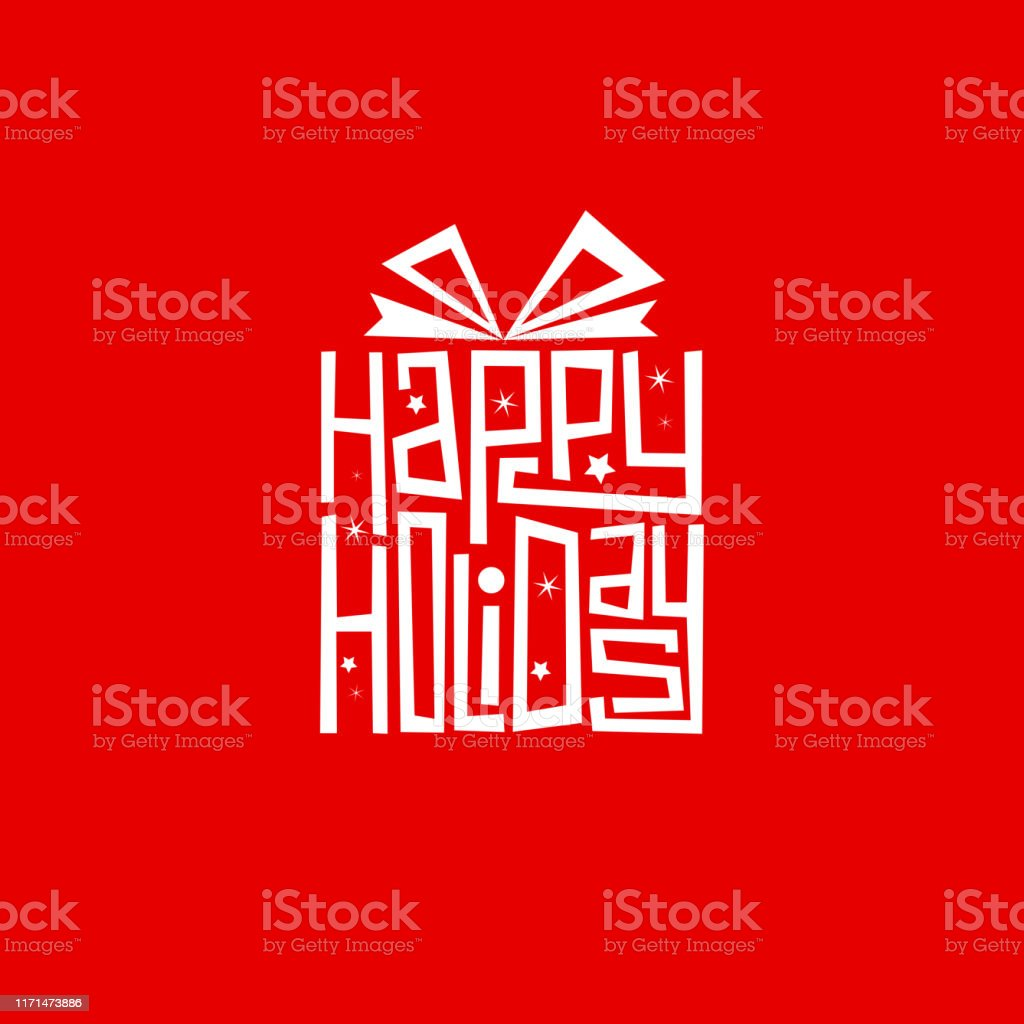 HAPPY HOLIDAYS ручной надписи в подарочной форме карты - Векторная графика Баннер - знак роялти-фри
