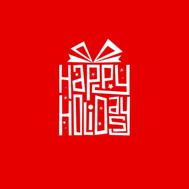 在禮品形狀卡片中手寫的 happy holiday 手信 - happy holidays 幅插畫檔、美工圖案、卡通及圖標