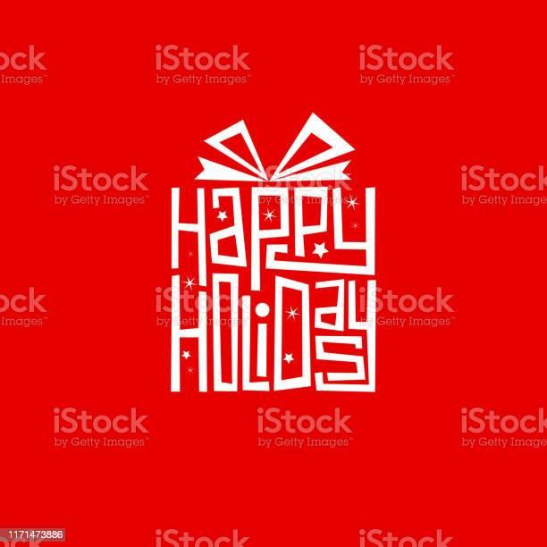 Happy Holidays Ручной Надписи В Подарочной Форме Карты — стоковая векторная графика и другие изображения на тему Баннер - знак