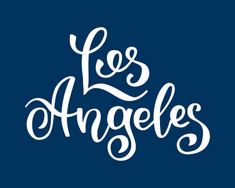 Hand lettering Los Angeles. Template for card, poster, print