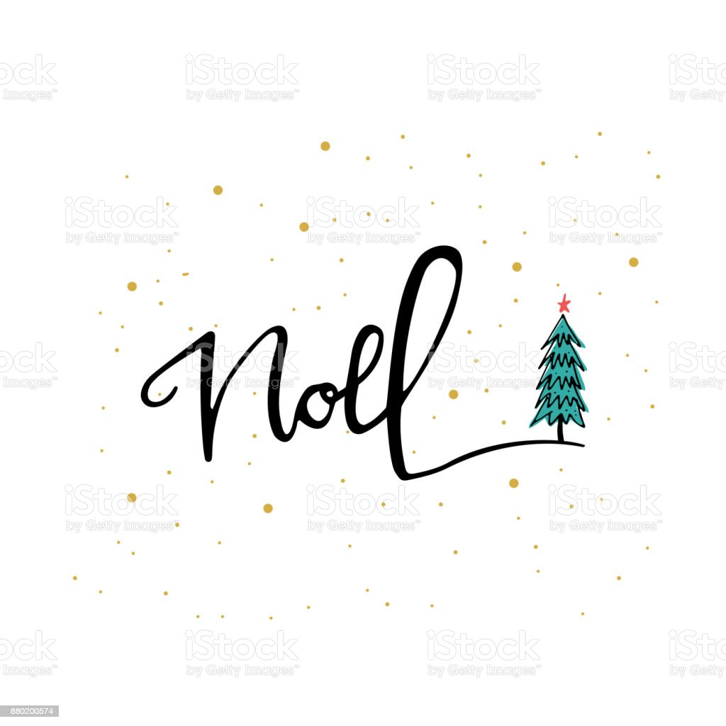 hand lettering noel phrase christmas tree holiday card ink illustration modern brush - Modern Holiday Cards