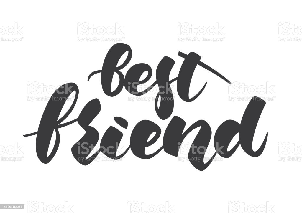 hand lettering of best friend template for friendship day on white