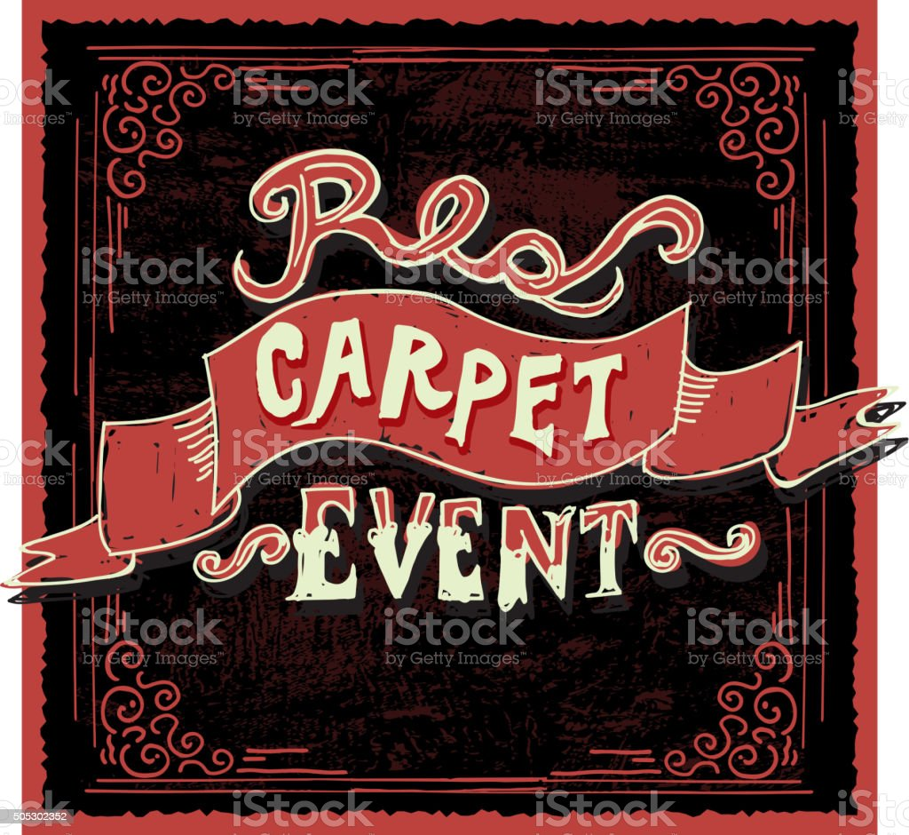 Hand Lettering Red And Black Carpet Event Invitation