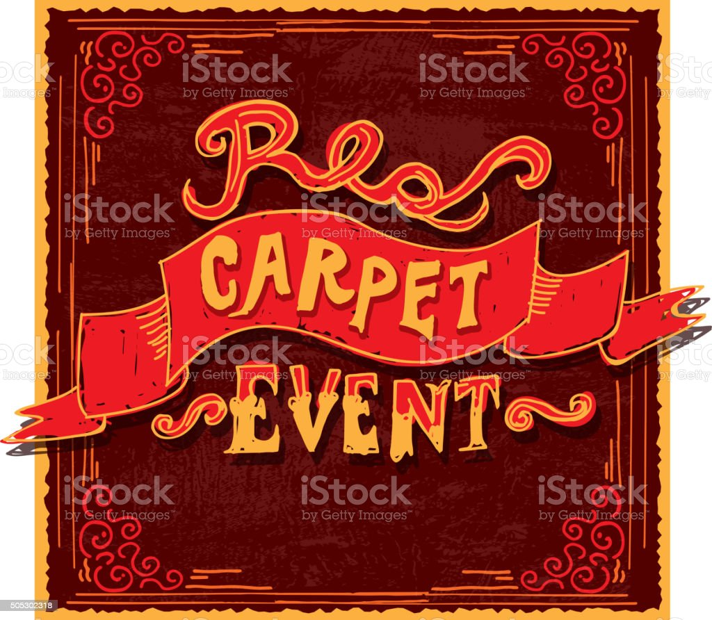 Hand Lettering Red And Gold Carpet Event Invitation Template