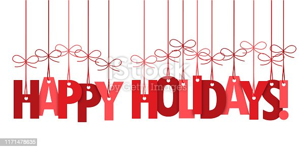 HAPPY HOLIDAYS vector hand lettering typography banner