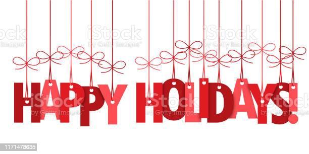 Happy Holidays Hand Lettering Typography Banner — стоковая векторная графика и другие изображения на тему Баннер - знак