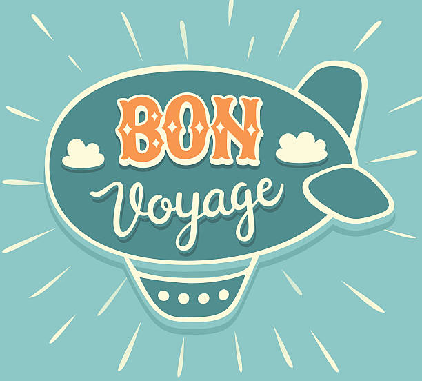 BON VOYAGE hand lettering with airship vector art illustration
