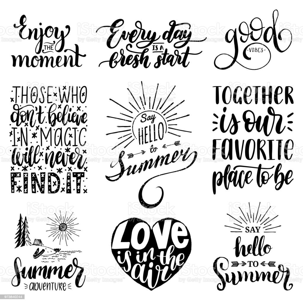 Hand Lettering With Motivational Phrases Vector Set Of ...