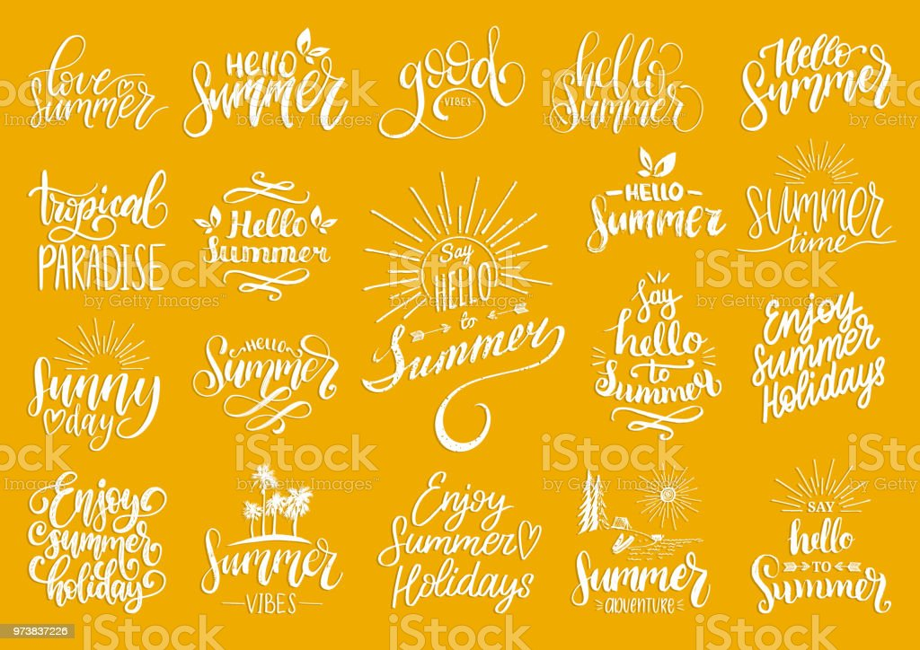 Hand Lettering With Summer Motivational Phrases And Sketches Vector