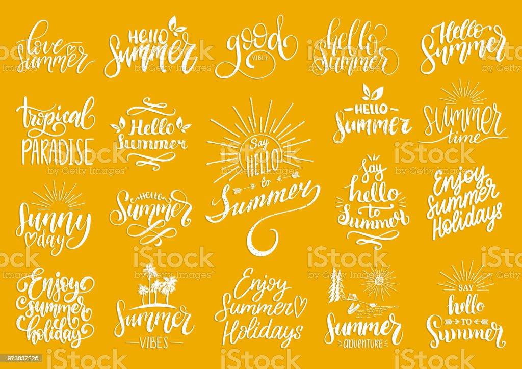 Vetores De Letras De Mão Com Frases Motivacionais De Verão E